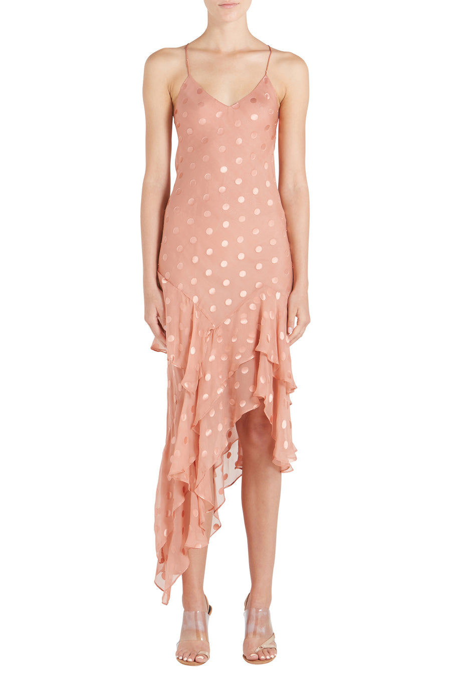 RUFFLE DOT SILK CHIFFON CAMI DRESS