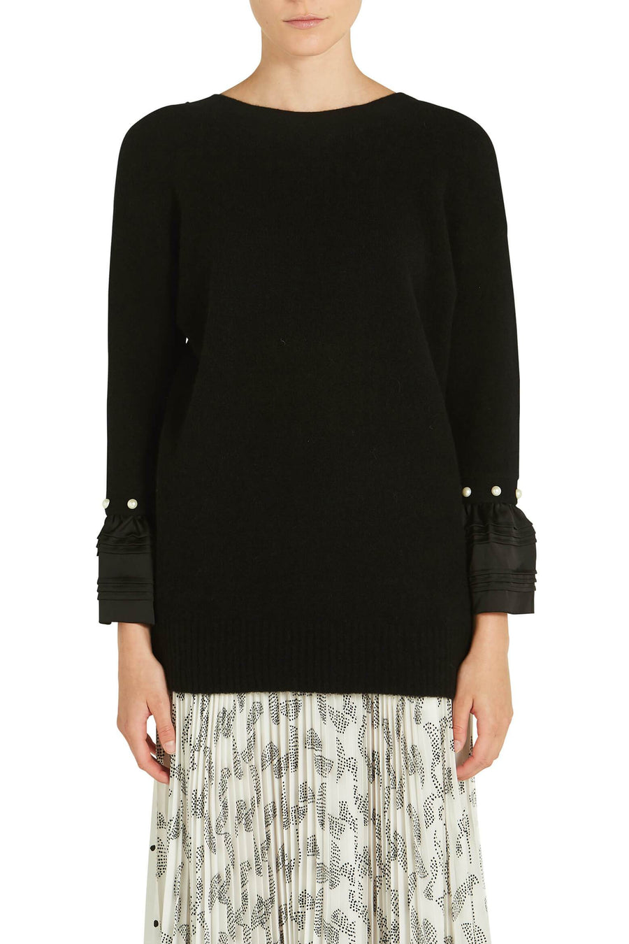 LOFTY V NECK SWEATER W/ PEARL CUFF