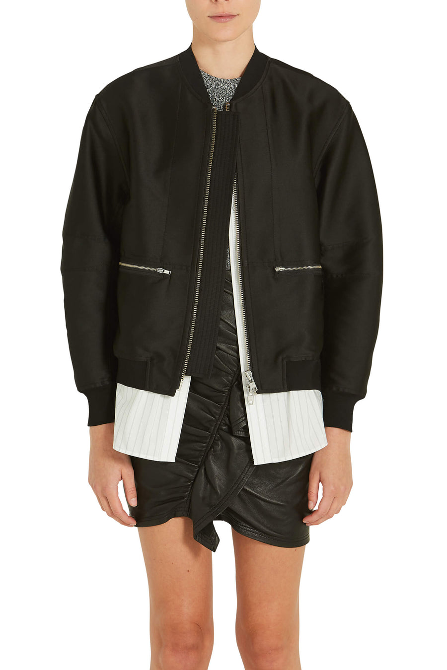 3.1 Phillip Lim Bomber With Underlay in Black from The New Trend Front