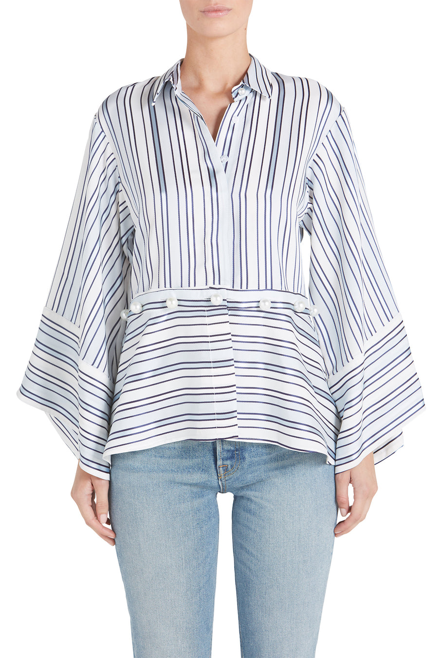 ADETTE STRIPE TOP WITH BUTTONS