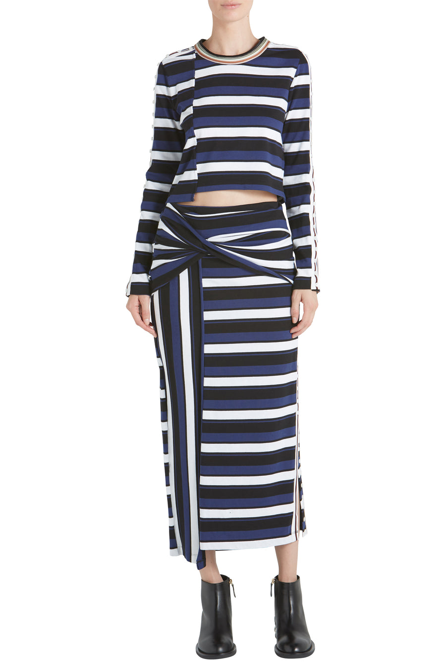 STRIPED WRAP FITTED MAXI SKIRT