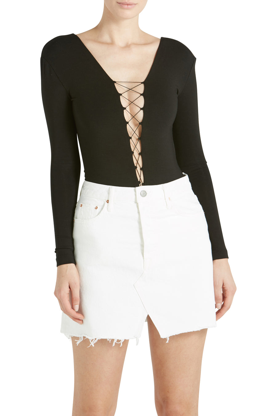 LACE UP L/S BODYSUIT