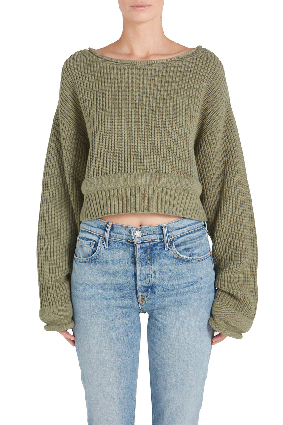 CHUNKY TRIM ACID WASH WIDE NECK PULLOVER