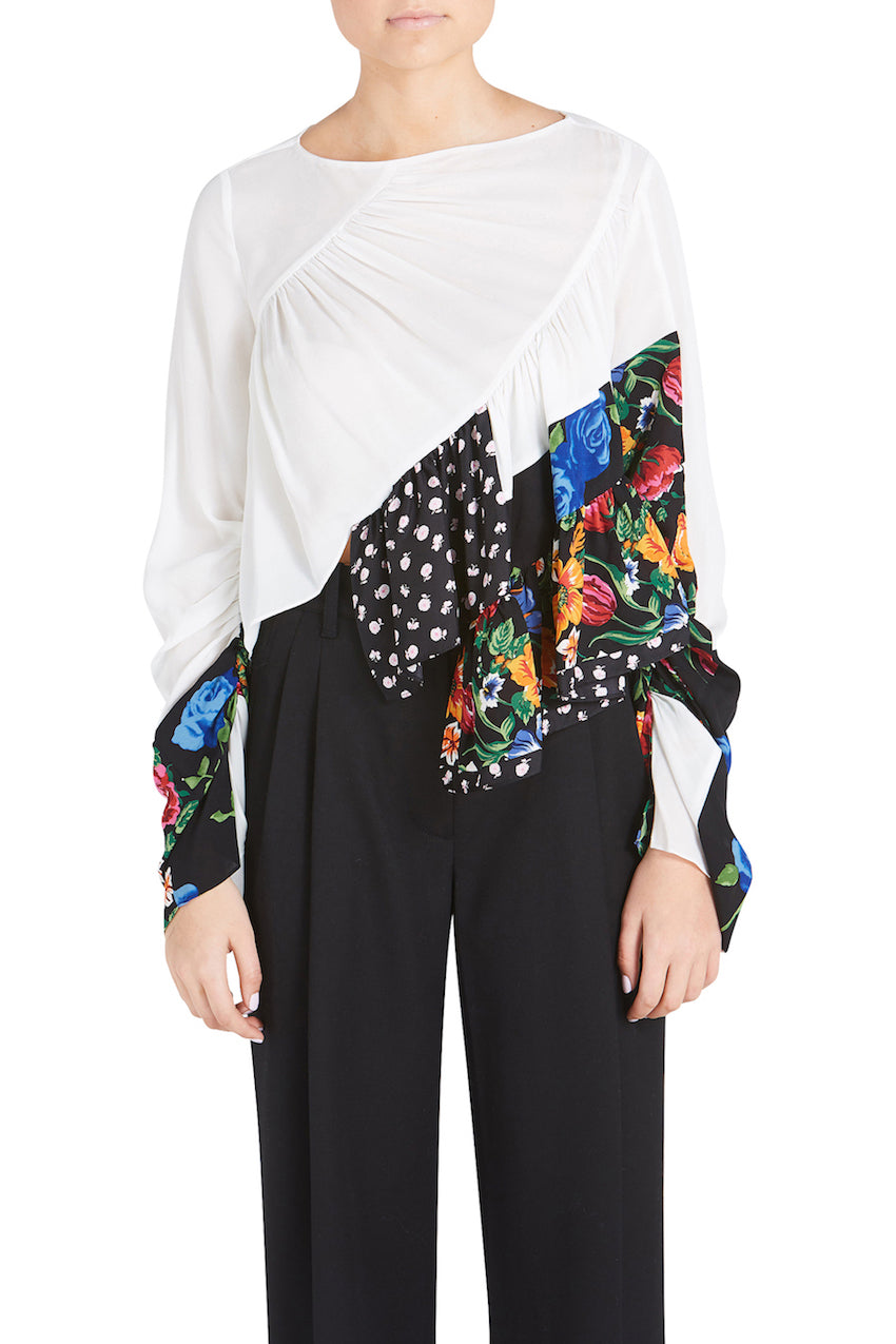 LS RUFFLE LAYER FLORAL PATCHWORK BLOUSE