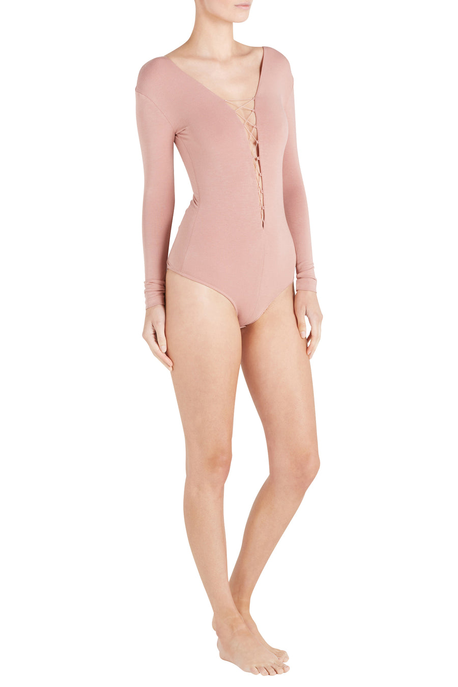 STRETCH JERSEY BODYSUIT WITH BUNGEE LACING