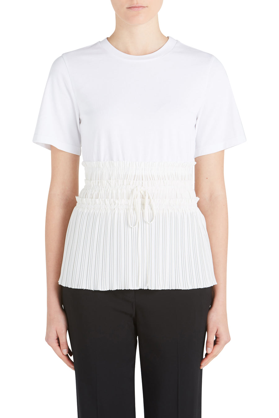 SS TSHIRT W/ PLEATED WAIST