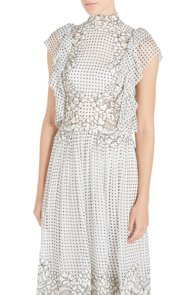 FLUTTER SLV MESH DRESS