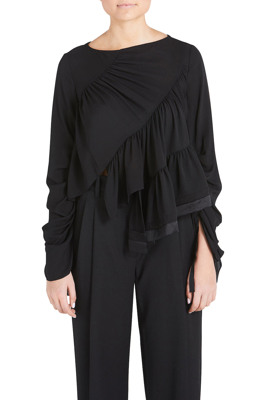 LS RUFFLE LAYER BLOUSE