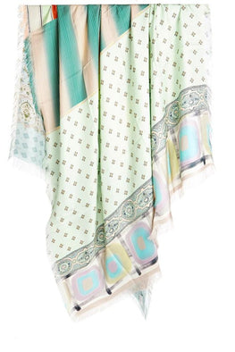 Pierre-Louis Mascia Gold Spliced Aloe Ultrawash Printed Silk Scarf from The New Trend
