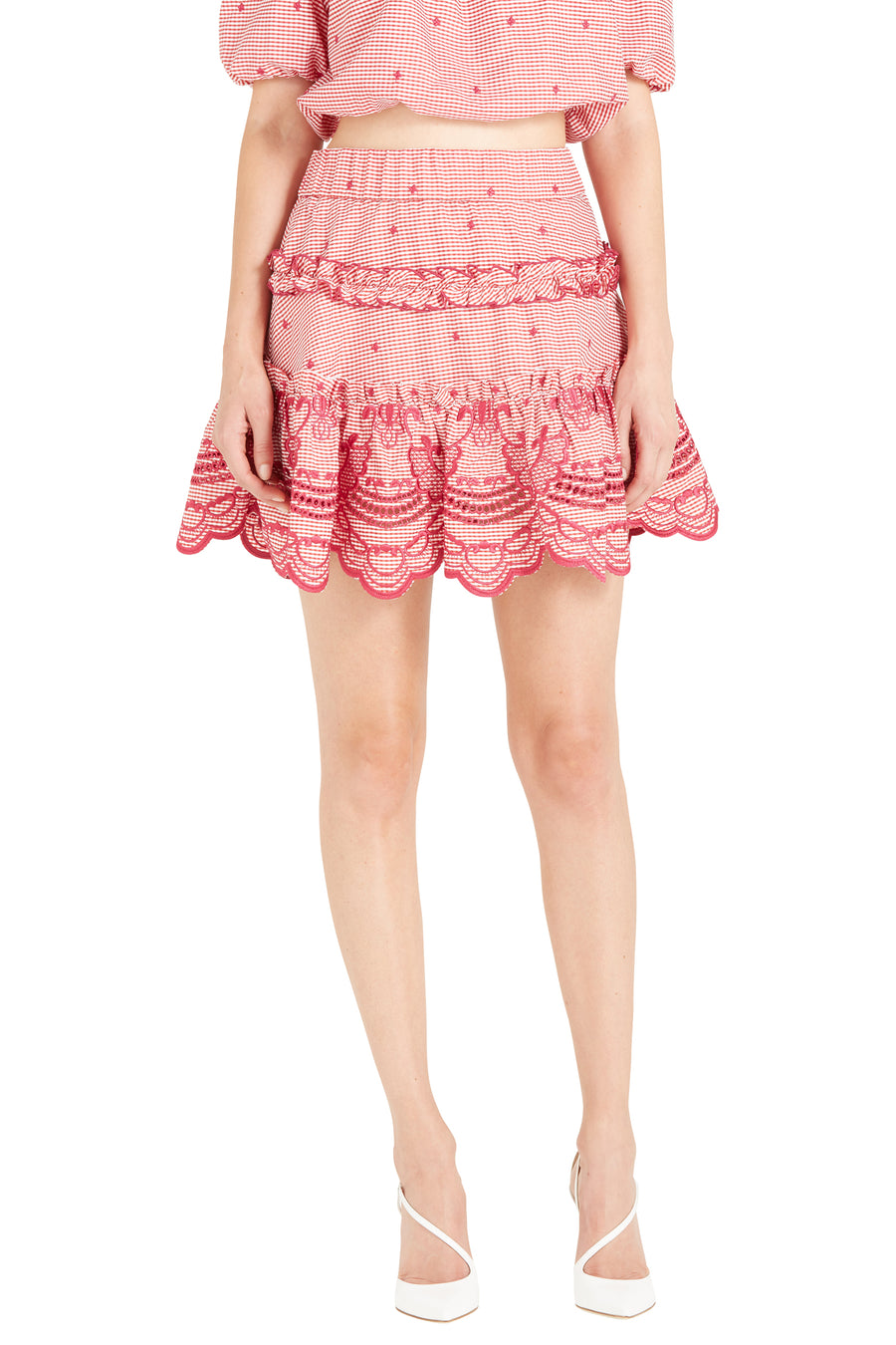 RAFAELLA EMBROIDERED GINGHAM SKIRT