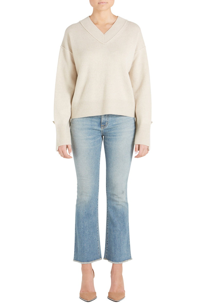 CASHMERE HIGH V NECK SWEATER