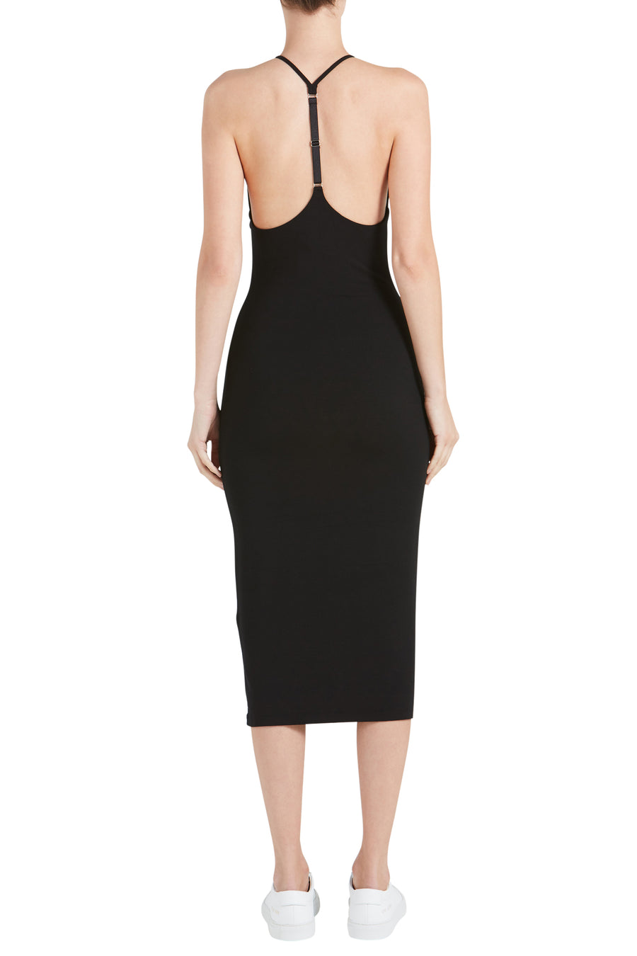 STRETCH JERSEY SLEEVELESS T-BACK FITTED MIDI DRESS