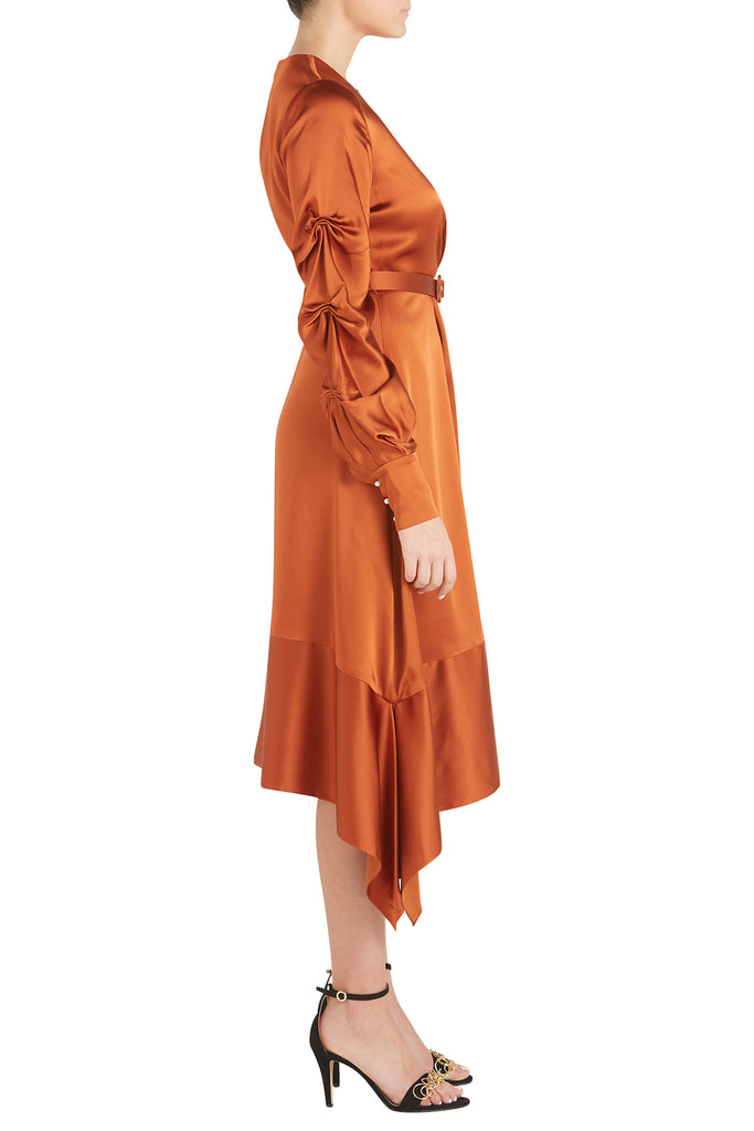 FLUID SATIN KEYHOLE MIDI DRESS