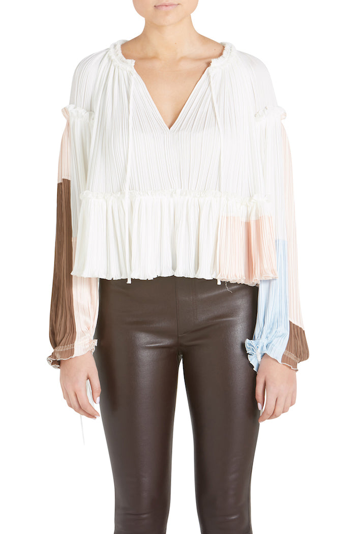 LS GATHERED PLEATED TOP