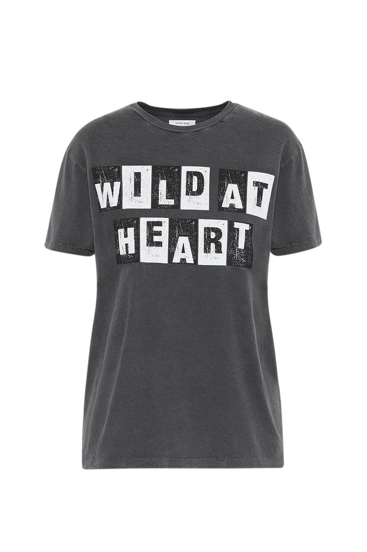 Anine Bing Wild Heart Vintage Tee Washed Black from The New Trend