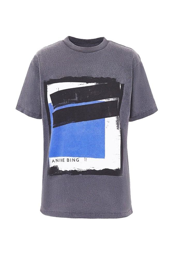 Anine Bing Lili Painting Tee in Washed Black from The New Trend