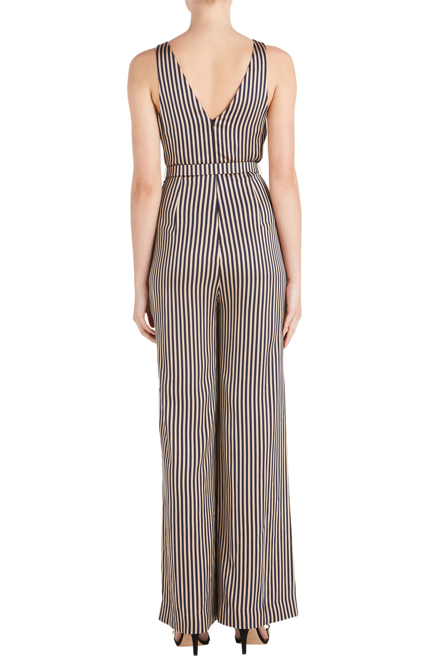 STRIPE TWIST V NECK JUMPSUIT