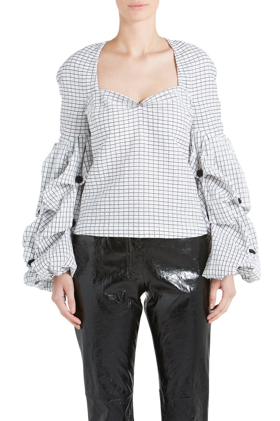 LOUISE SEERSUCKER GRID BLOUSE