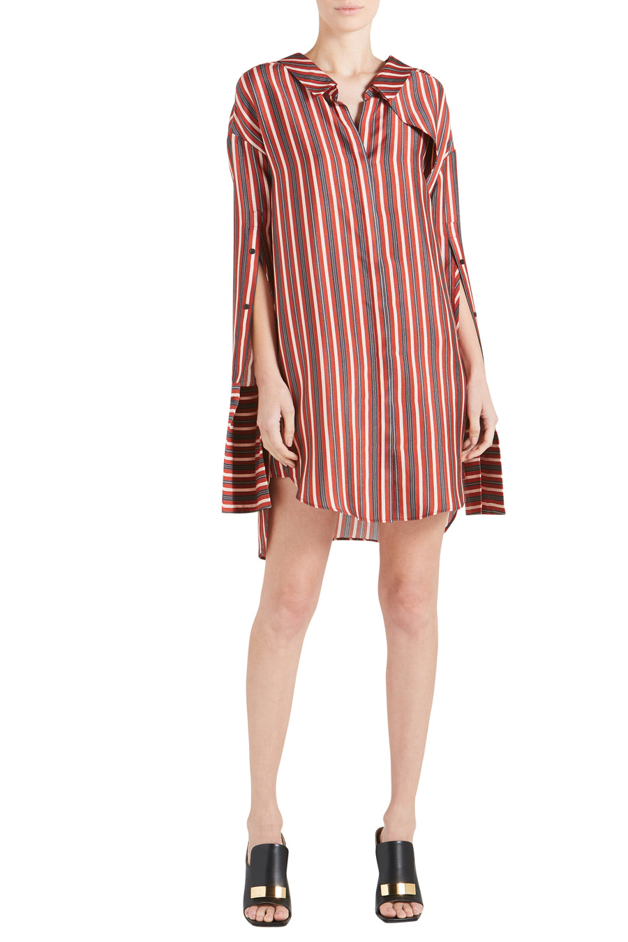 HUTTON STRIPE TEXTURED SILK DRESS