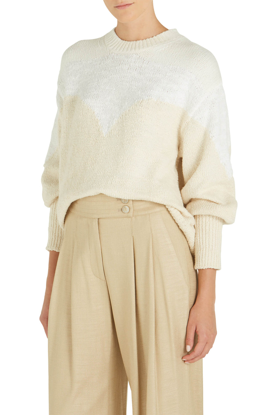 A.L.C. Avie Long Sleeve Knit Sweater Ivory/White/Natural from The New Trend