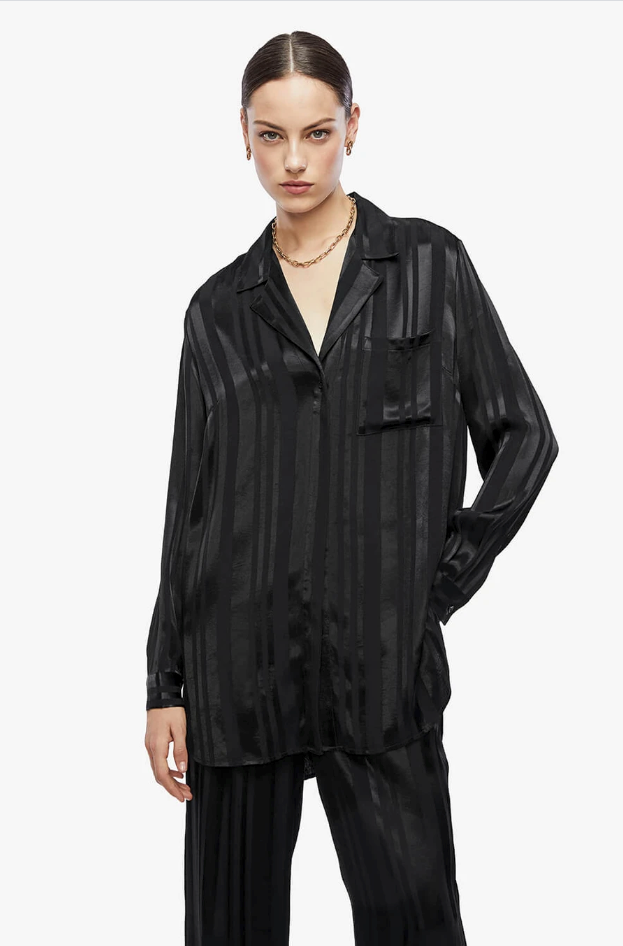 Anine Bing Ash Shirt in Black Tonal Stripe from The New Trend