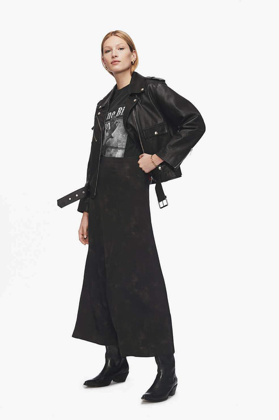 Anine Bing Caroline Silk Skirt in Black Tie Dye from The New Trend