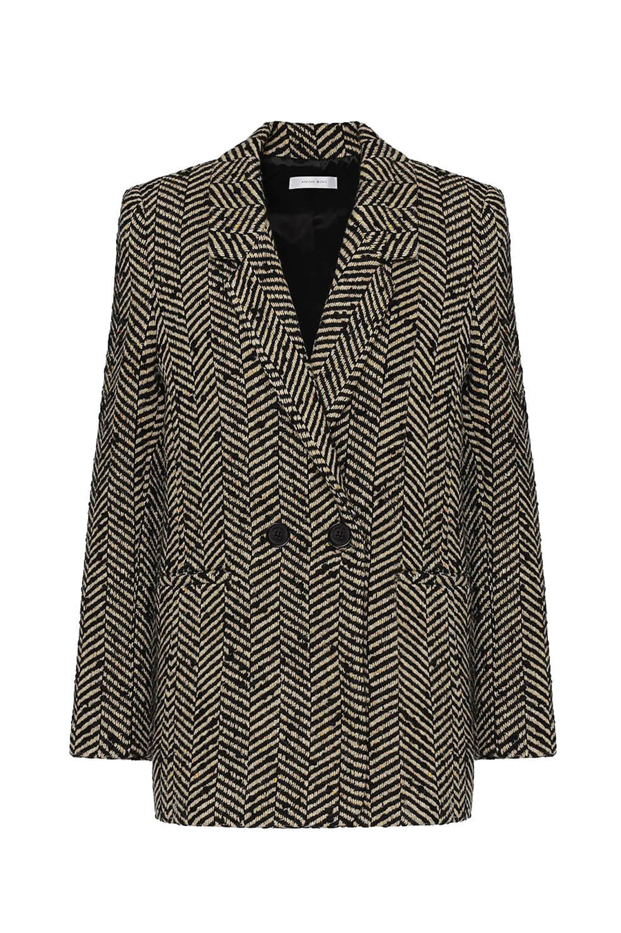 Anine Bing Fishbone Women's Blazer in Ivory and Black from The New Trend Australian Anine Bing Stockist