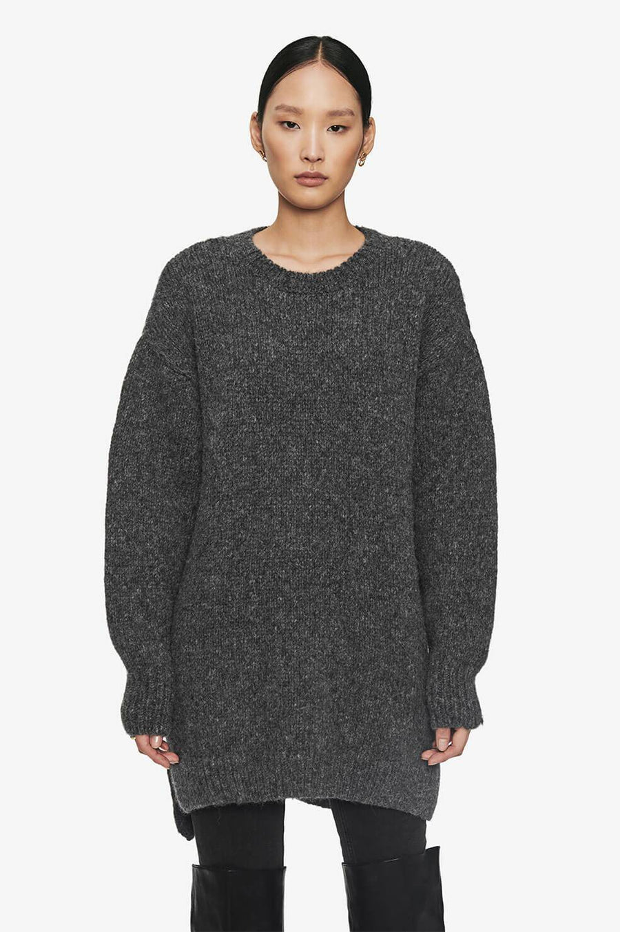 Anine Bing Kyle Sweater Dress in Charcoal Grey from The New Trend