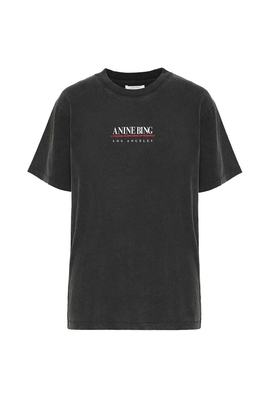 Anine Bing Lili Tee Link Short Sleeve T-Shirt in Black from The New Trend
