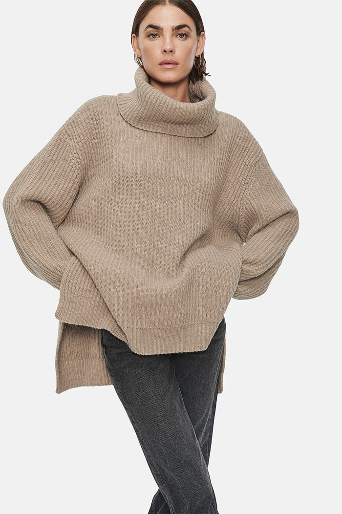 Anine Bing Olivia Turtle Neck Sweater in Sand from The New Trend