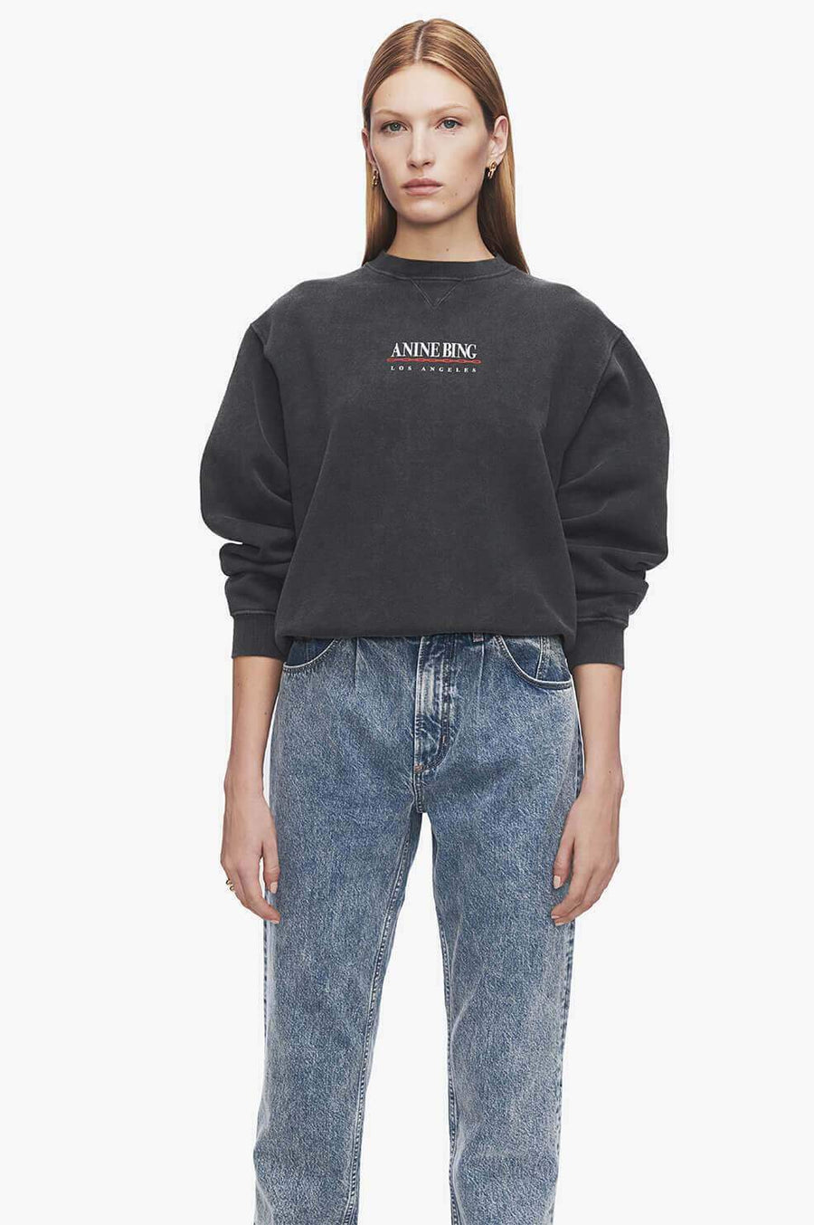 Anine Bing Oversized Ramona Sweatshirt Link in washed black from The New Trend