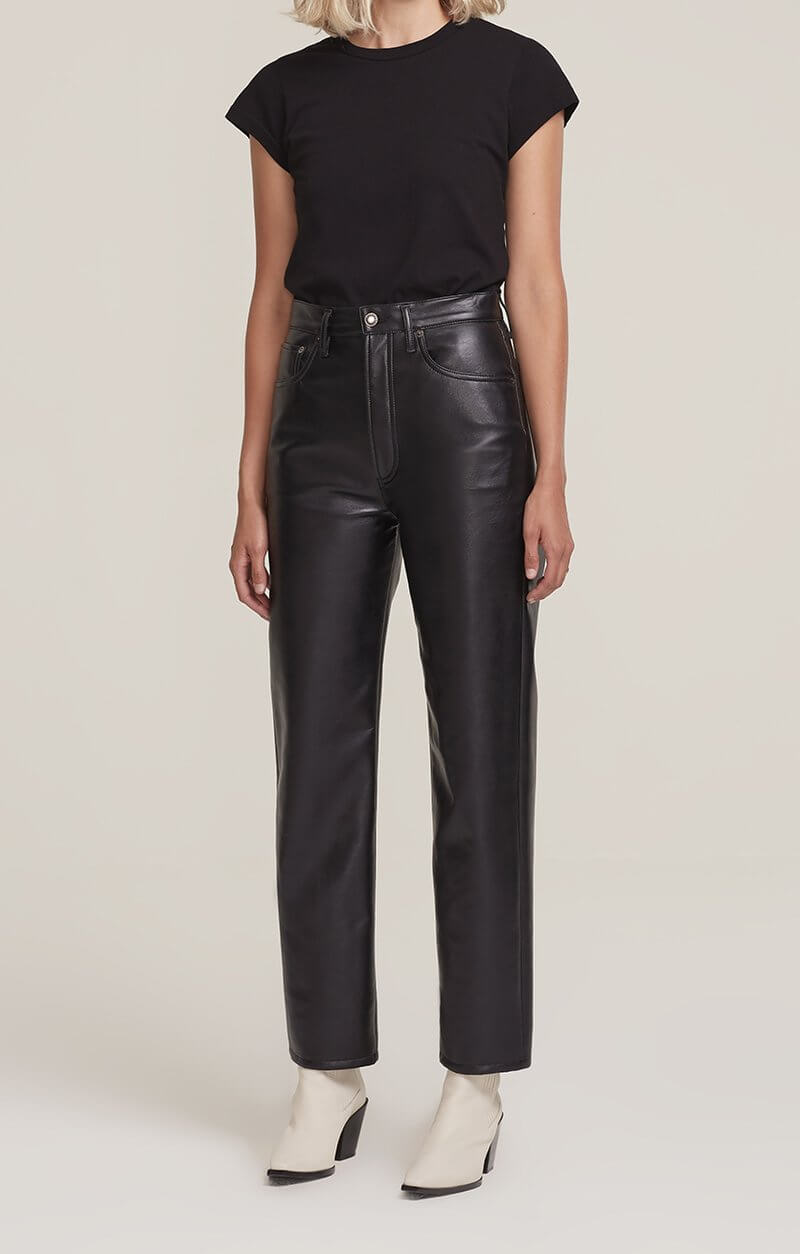 Agolde Recycled Leather 90's Pinch Waist in Detox from The New Trend