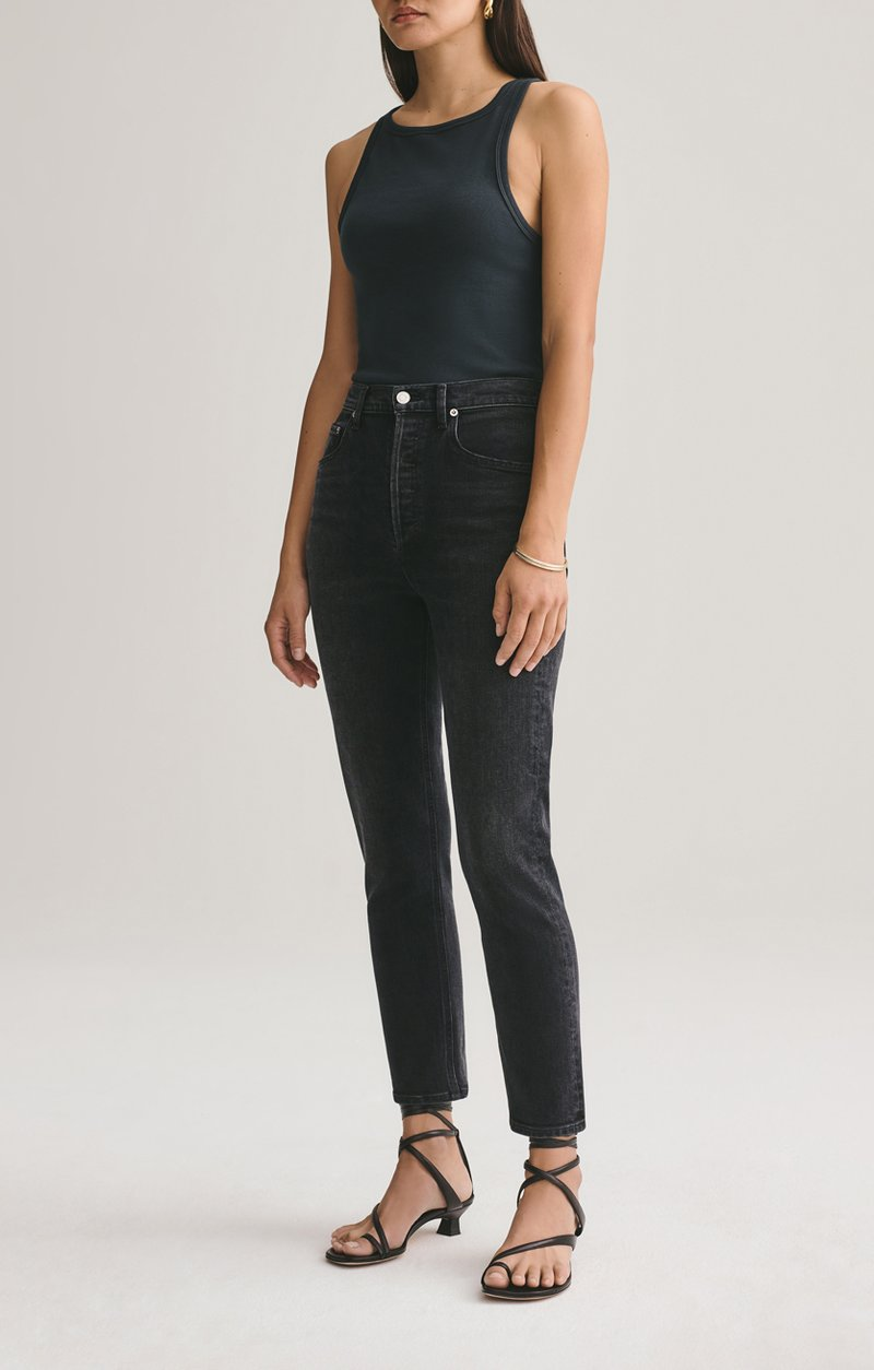 Agolde Riley High Rise Straight Crop in Black Pepper from The New Trend