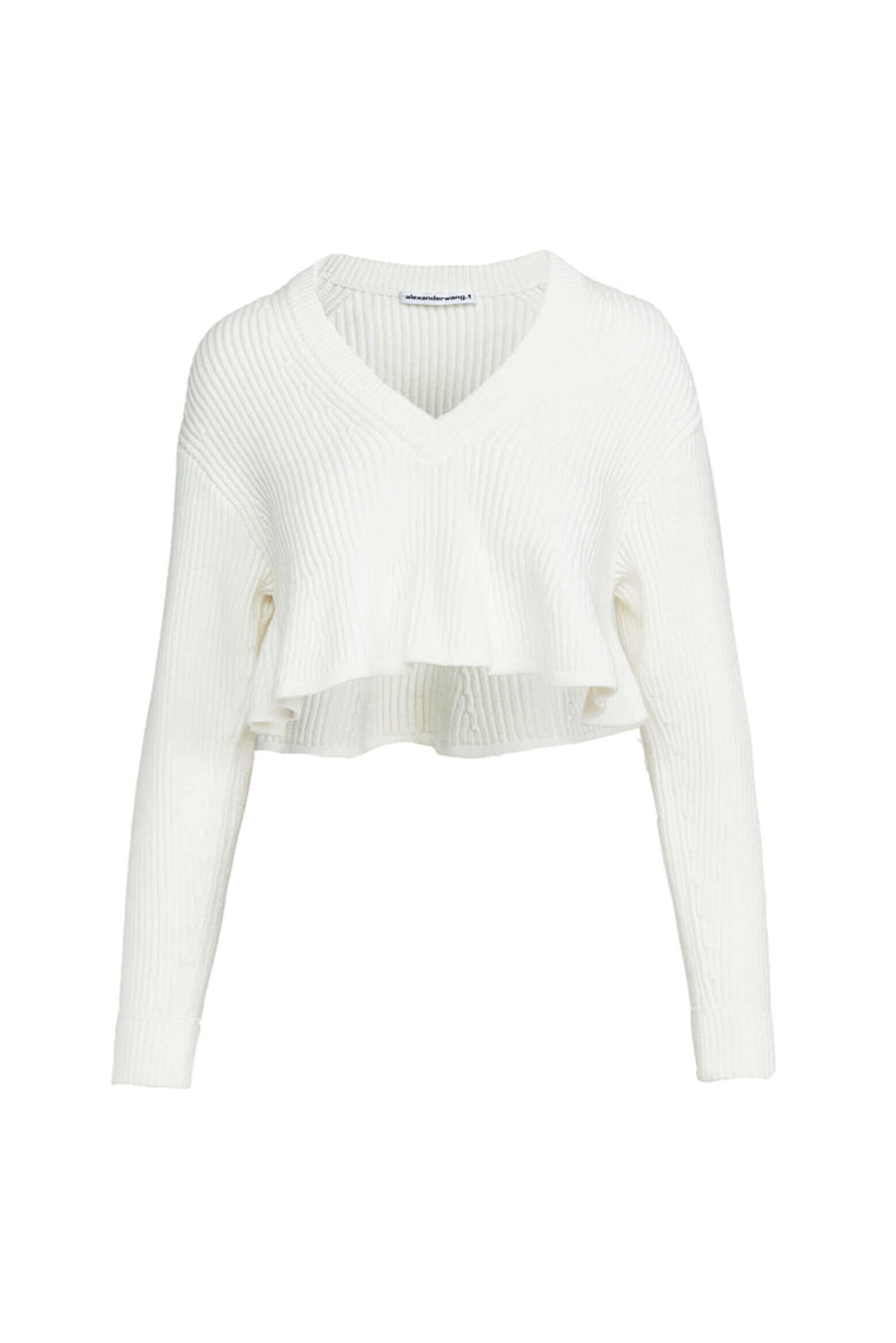 Alexander Wang Cropped V-Neck Pullover with Shortrowed Hem from The New Trend