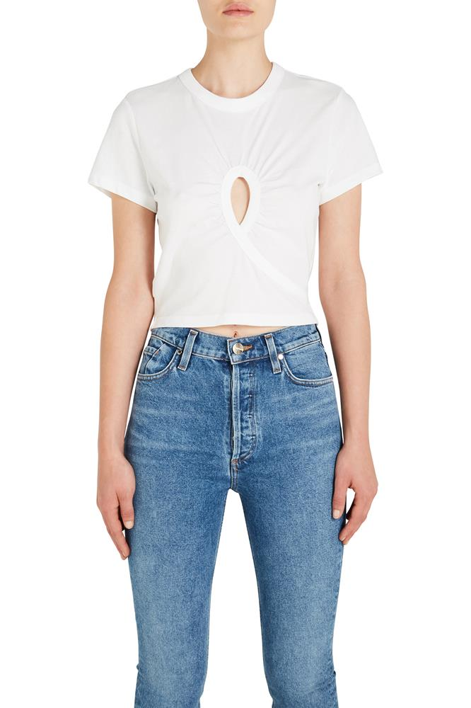 HIGH TWIST CROPPED TEE W/ HOLE