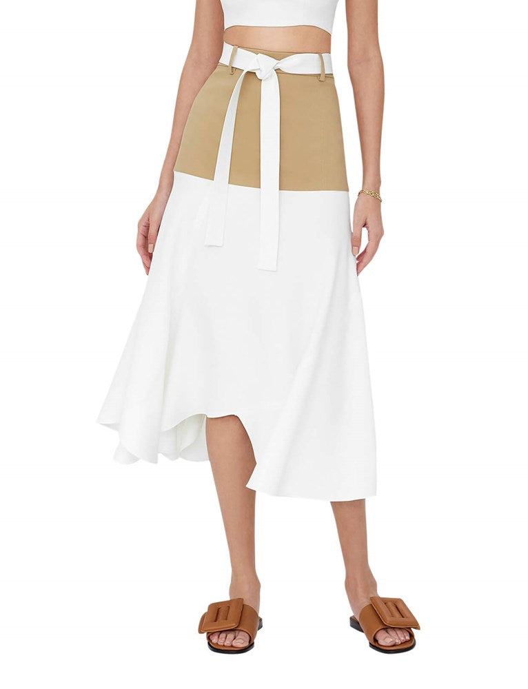 Alexis Camila Skirt in Tan/White from The New Trend