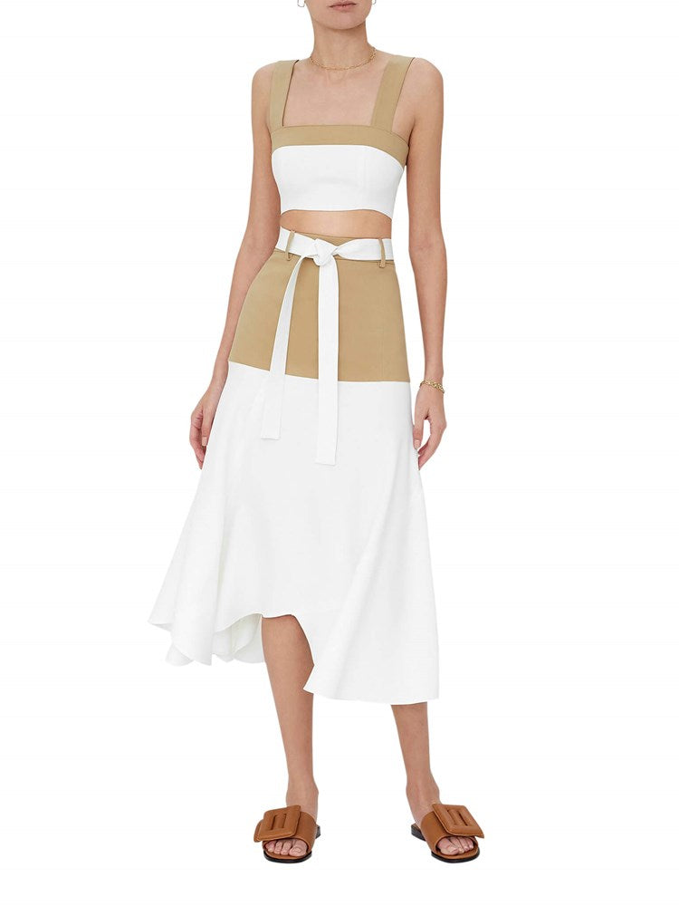 Alexis Rua Crop Top in Tan/White from The New Trend