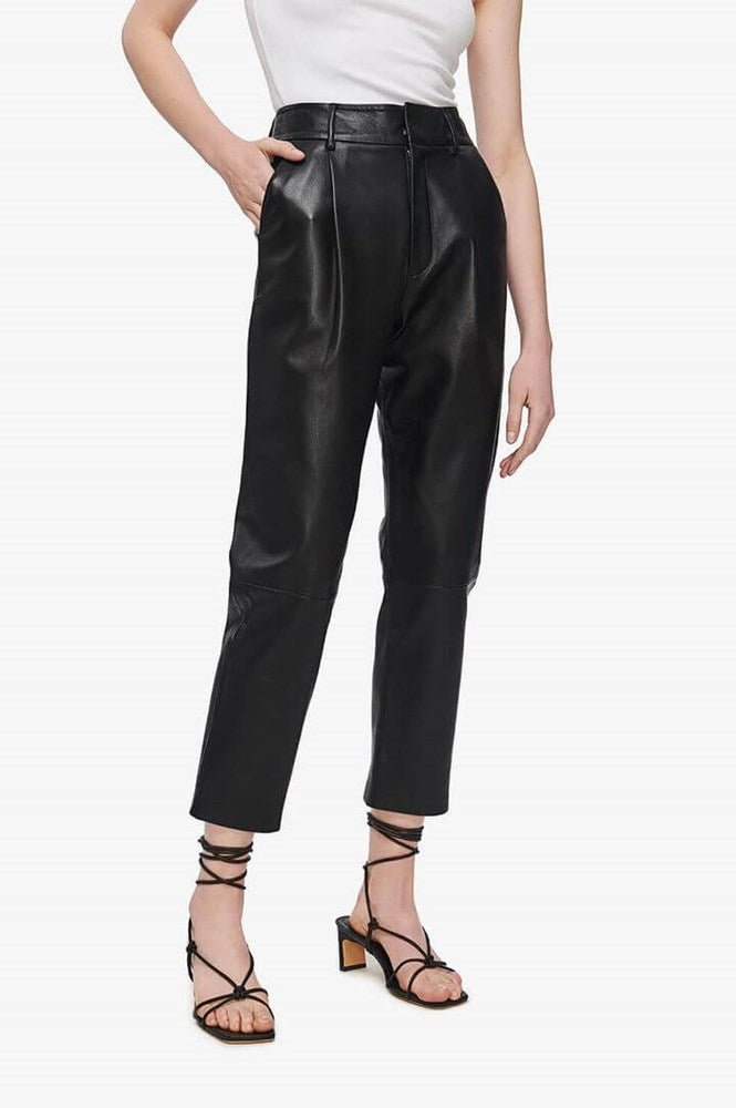 Anine Bing Becky Leather Trouser in Black from The New Trend