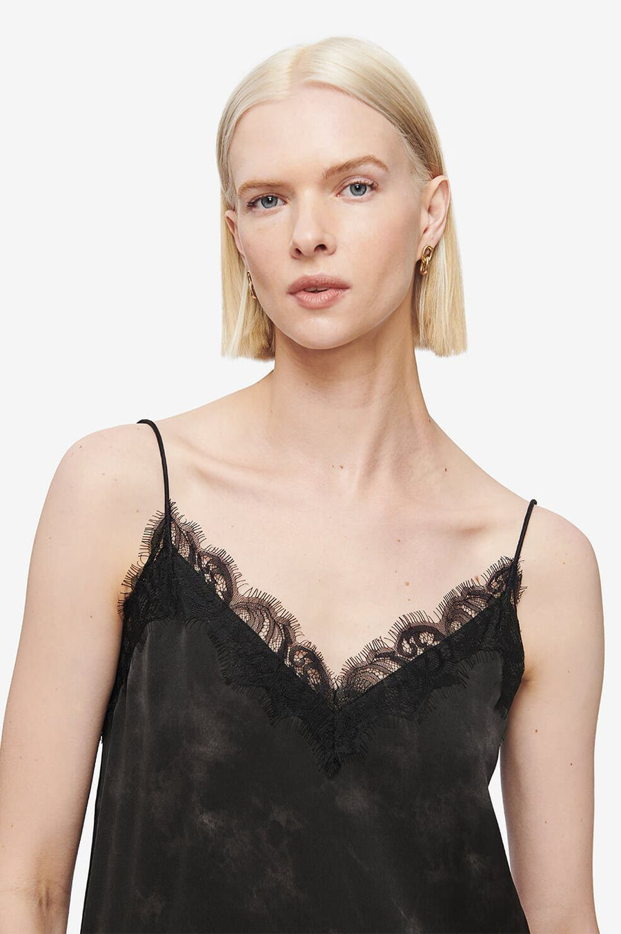 Anine Bing Belle Silk Camisole in Black Tie Dye from The New Trend