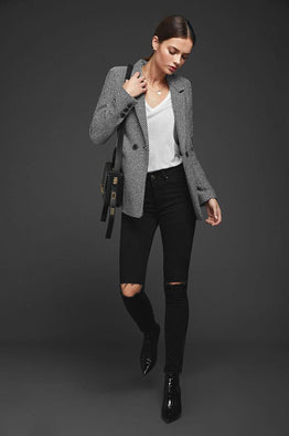 Anine Bing Fishbone Blazer Black/Off-White from The New Trend