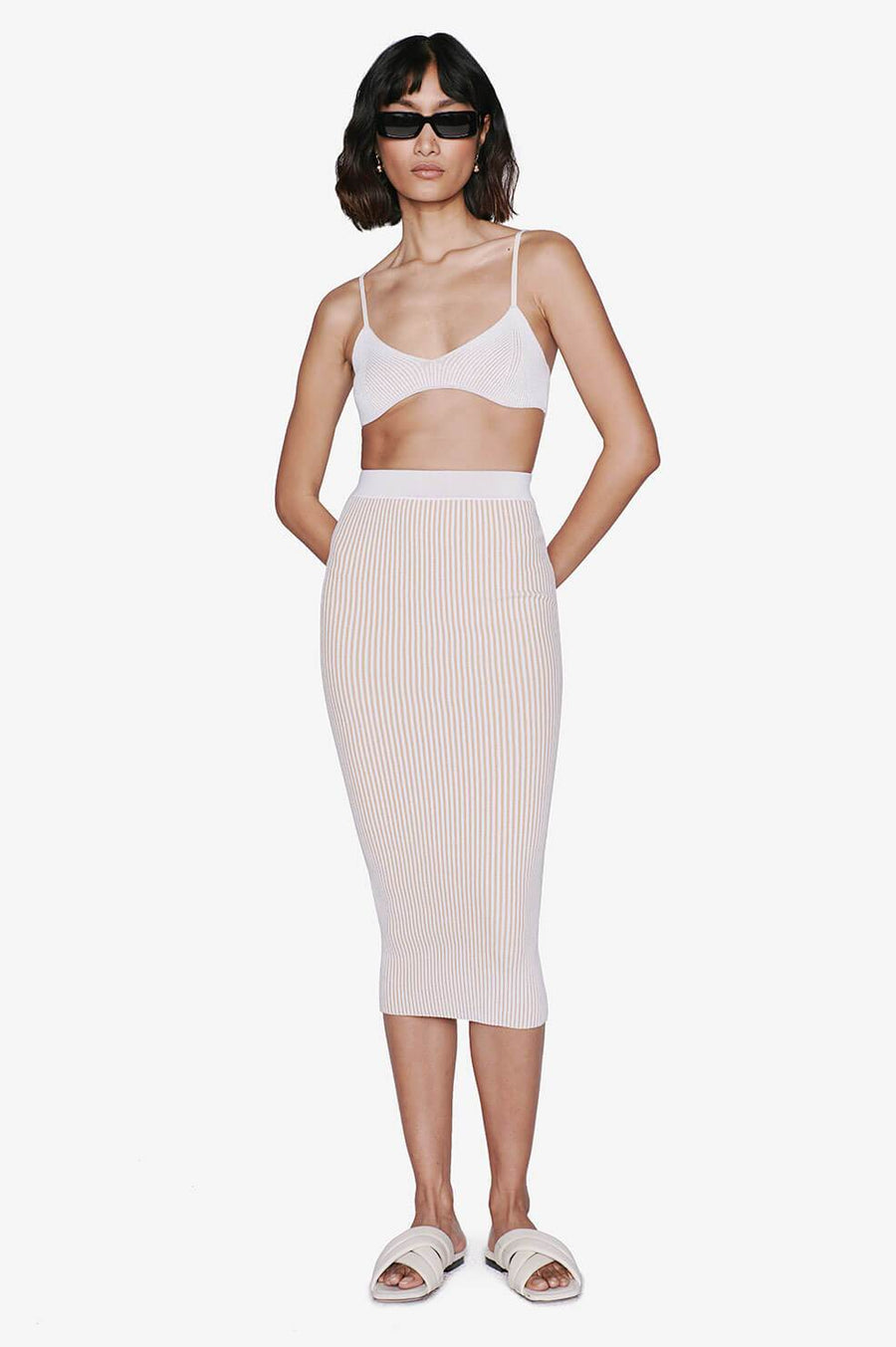 Anine Bing Julian Skirt in Camel Ivory from The New Trend