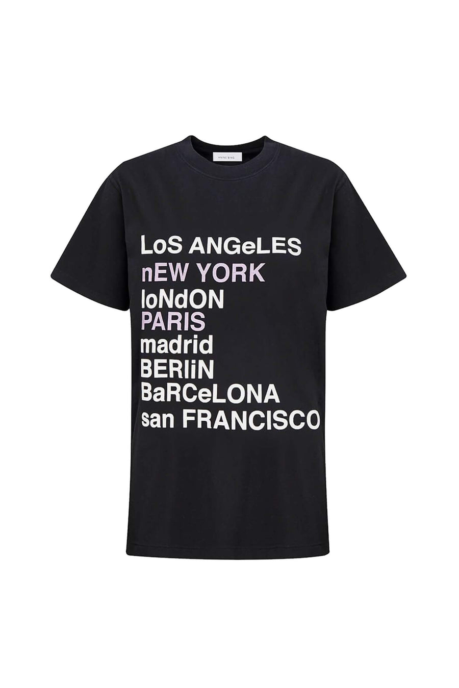 Anine Bing Lili Tee City Love in Washed Black from The New Trend