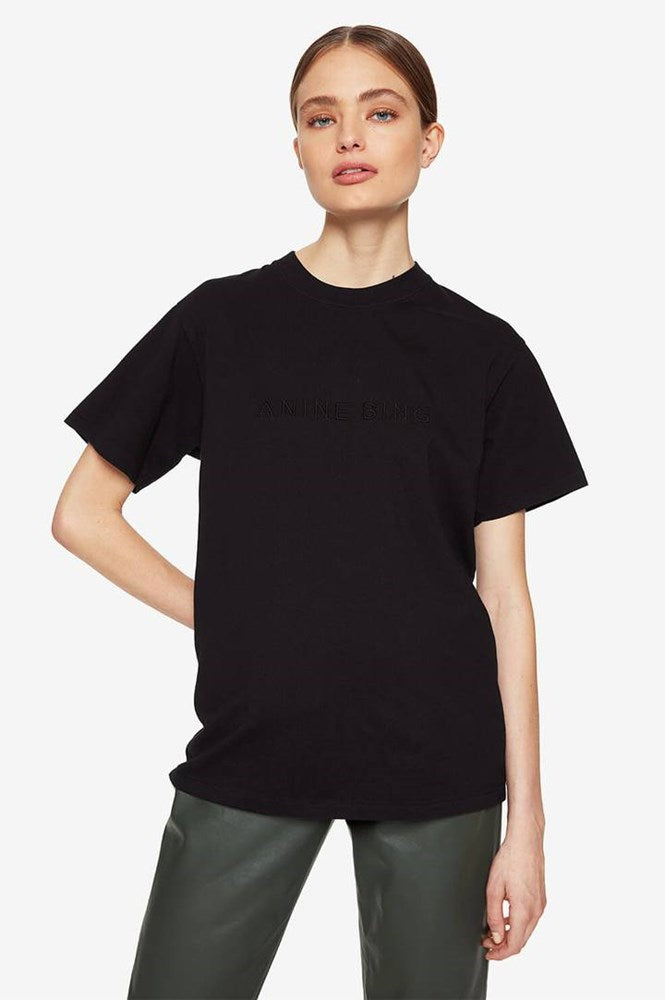 Anine Bing Lili Tonal Tee in Black from The New Trend