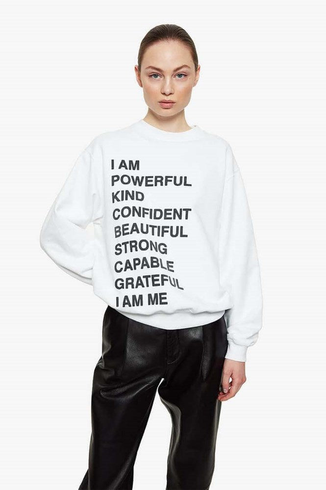 Anine Bing Ramona Sweatshirt Empowerment in White from The New Trend