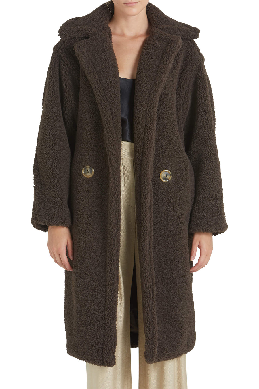 Apparis Daryna Faux Shearling Coat in Eboni from The New Trend