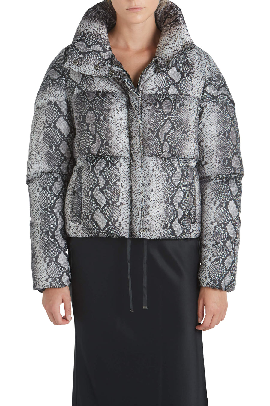 Jamie Python Bomber in Grey Python Print from The New Trend