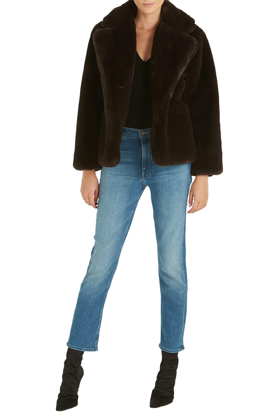 Apparis Manon Faux Fur Jacket in Eboni from The New Trend  Edit alt text