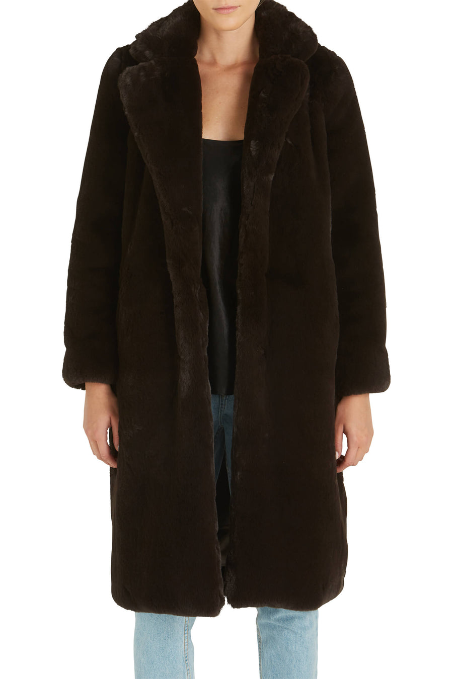 Apparis Siena Faux Fur Coat in Eboni from The New Trend