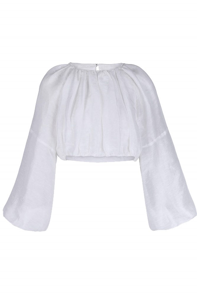 Auteur Farah Gauze Top in White from The New Trend