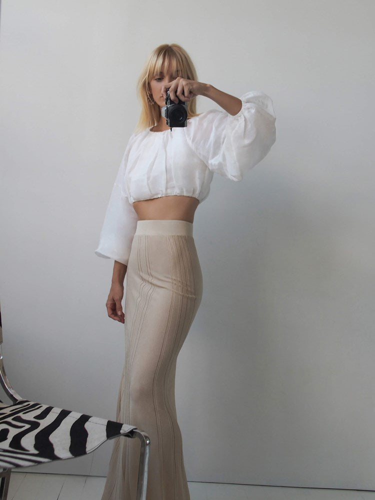 Auteur Fleur Pleat Knit Skirt in Gold from The New Trend